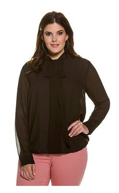 Tie Bow Blouse - loose bow on the notched round neck – can be tied as a bow or hang loose. Body has solid lining. Long sheer sleeves with button cuffs. <b