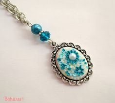 Small pendant necklace with Blue polymer clay handmade by Bokwus, €10.00