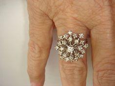 #jewelry Vintage 14K White Gold Diamond Snowflake/Starburst Ring 1 Karat of diamonds please retweet