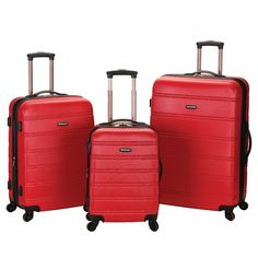 10f87b2e41db Rockland Melbourne 3pc Expandable Abs Spinner Luggage Set - Red Spinner  Suitcase