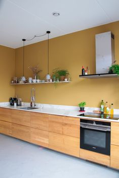 Kitchen Colors, Kitchen Design, Yellow Accent Walls, Diy Wall Painting, Home Design Plans, Cuisines Design, Living Room Inspiration, Kitchen Living, Apartment Living