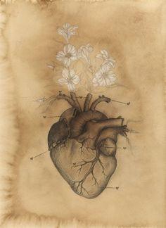 PHILOSOPHY of HEART Vintage Anatomy Oleander Heart by SHOPCASSTRONAUT
