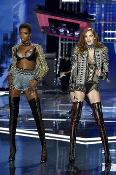 Maria Borges & Alexina Graham debuted the VSxBALMAIN collection at the Victoria's Secret Fashion Show in Shanghai.