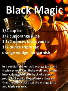Mix up a few of those Black Magic cocktails to get your Halloween party started. Could be an Orange Crush Halloween Cocktails, Holiday Drinks, Summer Drinks, Holiday Parties, Liquor Drinks, Cocktail Drinks, Cocktail Recipes, Beverages, Shots Drinks