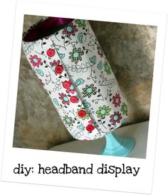A headband display...this could coe in handy!! Not the best tutorial, but you can get the gist of it!