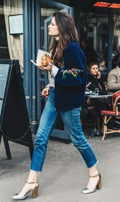 A velvet bomber jacket hits every trend that's going on for fall