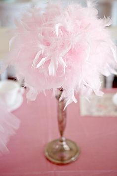 centerpieces- maybe not so pink? I would like them in a dark purple or navy blue to go better with the paris theme. feather boa + dollar store candlesticks + hot glue.