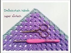 SUPER EINFACHES Dreieckstuch/ Half Granny Tuch häkeln super für Anfänger - YouTube