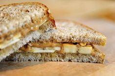 Peanut butter, honey and bananas on white whole...