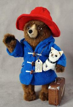 Bear Paddington with dog and suitcase By Alina Biliakova - Bear Pile