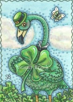 ALL THINGS IRISH - Finding a giant Shamrock must be luck of the Irish.   Happy St. Patrick's day Green Flamingo by Susan Brack Original ACEO Art