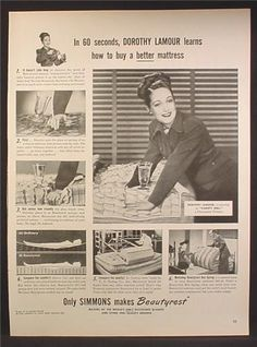 0 Dorothy Lamour, - Ad For Simmons Beautyrest Mattress,  1947