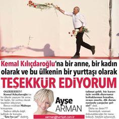 """36.3b Beğenme, 1,086 Yorum - Instagram'da Ayse Arman (@armanayse): """"Günaydın ❤ Bugünkü yazıdan👊 🔺Oleeey!!! Kemal Kılıçdaroğlu'na bu ülkede yaşayan bir anne, bir kadın,…"""""""