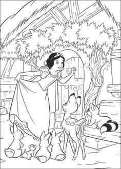 Princess Snow White Knocked on the Door Coloring Pages
