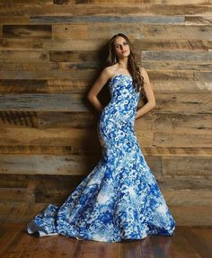 blue print fitted strapless sherri hill modeled by my beautiful daughter