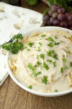 Creamy Italian Pasta Alfredo sauce recipe made healthy with Greek Yogurt instead of heavy cream.