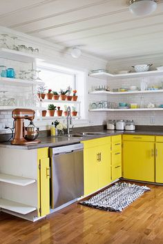 A Bright Spot - 28 Cool Kitchen Cabinet Colors  - Photos