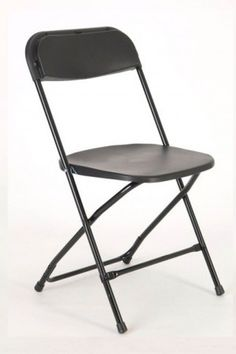 Economy Plastic Folding Chair - Black Frame Black Shell
