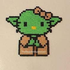 Yoda Hello Kitty hama beads by thebeadartbusiness