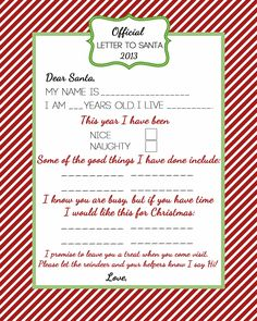 Official Letter to Santa;