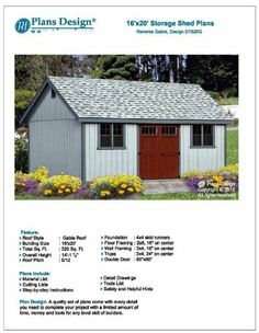 Classic Outdoor Structures Storage Shed Plans x Reverse Gable Roof Style Building A Storage Shed, Garden Storage Shed, Shed Building Plans, Storage Shed Plans, Wood Shed Plans, Free Shed Plans, Shed Design, Roof Design, Building Design