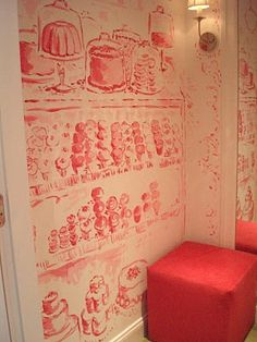 Hand painted pink toile, depicting scenes of NY, in the dressing rooms of the Lilly Pulitzer shop on Madison ave. Love, love, love this!