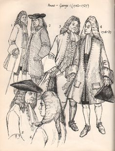 Early 1700's Men's & Women's Fashion.