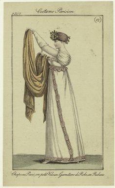 """""""Chapeau Paré, en petit Velours, Garniture de Robe en Rubans"""", Journal des Dames et des Modes, 1807; NYPL 801750"""