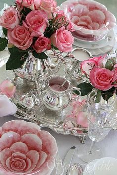 A Royal Tea For Two.... #tablescape with silver and roses... but what am I having in the rose petal bowls?