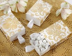 Treasures Gold Damask Favor Boxes - Your special day deserves the best. Find it in the form of these elegant treasures gold damask favor boxes. Candy Wedding Favors, Elegant Wedding Favors, Wedding Favor Boxes, Bridal Shower Favors, Unique Weddings, Diy Wedding, Party Favors, Wedding Gifts, Favour Boxes