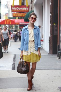 NYC Street Style-Actress Nora Zehetner Layers For Fall Shirt Over Dress, Flowy Tops, Cool Jackets, Simple Style, Style Me, Get Dressed, Hippy, Playing Dress Up, Autumn Winter Fashion