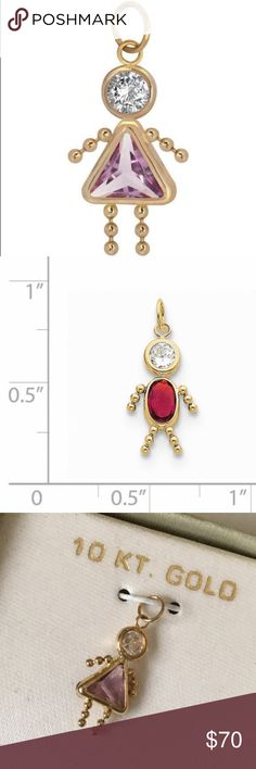 """Birthstone Babies Girl Charm June 10K Gold Brand: unbranded  Material: 10K gold  Measures about .75"""" long.   Pendant measures about .75"""" long.   Pendant to put on your own chain necklace or bracelet. Does not come with a chain. Jewelry"""