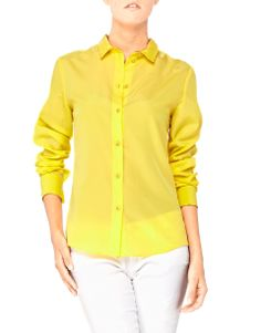 Bright Yellow - Blugirl Spring Summer 2014 • Blugirl's lightweight shirt is perfect for hot climates, vacations or layering. It is tailored at the bust for a subtly feminine fit. The neatly proportioned collar makes this design contemporary chic. Classic denim will make the yellow color pop.