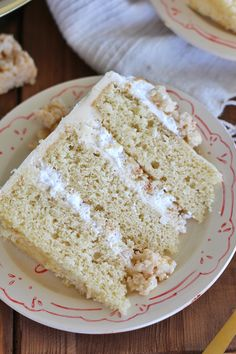 My new Brown Butter Rice Krispie Treat Cake is made up of brown butter cake, brown butter frosting, marshmallow fluff and rice krispie Treats Cupcakes, Cupcake Cakes, Food Cakes, Cake Recipes, Dessert Recipes, Desserts, Popcorn Recipes, Rice Crispy Treats, Krispie Treats