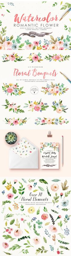 """This is mini-pack extracted from Watercolor Design Toolkit,if you just need a few beautiful flowers for your project,this mini-pack will be your perfect choice. SO WHAT DO YOU GET? 94 PNG(300dpi) hand drawn watercolor graphic elements,Each element on an individual png with transparent background. 10 Flowers 36 Leaves 7 Buds 7 Berries 10 Branches 9 Flower wreathes 10 Flowers bouquets 3 Watercolor Ribbons 4 Pattern (seamless patterns with transparent backgrounds / 8.5""""X 11"""" Patterns)"""