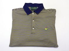 Augusta National Amen Corner L Navy Blue Yellow Cream Stripe Masters Golf Polo #AmenCorner #PoloRugby