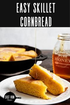 Who doesn't love a warm slice of cast iron skillet cornbread? If you have been wanting to learn how to cook cornbread in cast iron pans then look no further. Cornbread is so much better when cooked in cast iron skillets. My suggestion is to start with a easy cornbread recipe like mine and what you will end up with is a warm, crispy and soft bread that will go with any meal! You'll easily want to make this with every meal. #castironrecipes #castironbread #castironbaking Easy Cornbread Recipe, Sweet Cornbread, Cast Iron Bread, Cast Iron Cooking, Dutch Oven Recipes, Baking Recipes, Cast Iron Skillet Cornbread, Cast Iron Chicken, Cast Iron Recipes