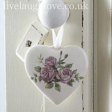 Ceramic Rose Hanging Heart
