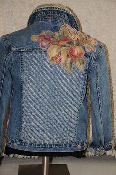 OOAK Upcycled denim jacket womens denim jacket size by nanotchka