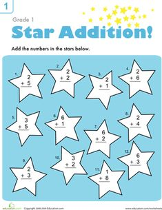 First Grade Addition Worksheets: Addition Facts Practice Worksheet