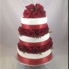 Romantically Red wedding cake