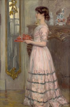 "Franz Skarbina (German, 1849–1910) - ""The Red Tea Service"", c. 1907"