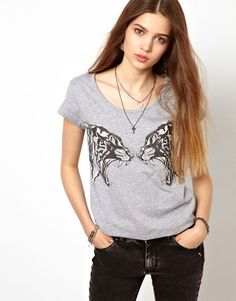 Tiger Printed O-Neck Short Puff Sleeve T-Shirt