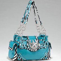 Studded Zebra Print Shoulder Bag w/ Rhinestone « Clothing Impulse
