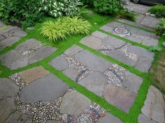 Pebble Mosaic with Flagstone • Gardens by Jeffrey Bale
