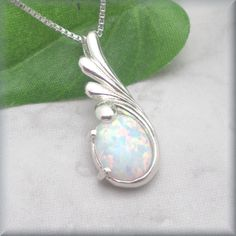 Opal Necklace, October Birthstone, Sterling Silver, Gemstone Jewelry, Gemstone Necklace, Opal Jewelry, Modern Necklace, Opal Pendant (SN880) by BonnyJewelry on Etsy https://www.etsy.com/listing/247165290/opal-necklace-october-birthstone
