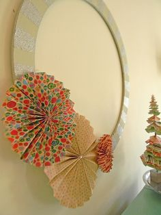 diy paper fan wreath