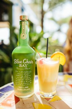 RUNAWAY LIME COCKTAIL // 1 oz. Blue Chair Bay Key Lime Rum Cream + 1 oz. Blue Chair Bay Banana Rum + 4 oz. pineapple juice + 2 cups ice // Blend all ingredients on high. Pour the good stuff in a glass. Garnish with a cherry and pineapple wedge.