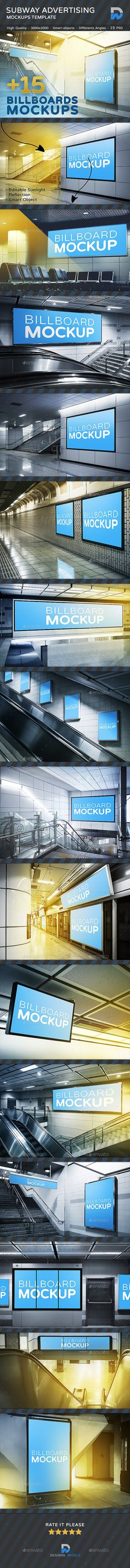Buy Subway Advertising Mock ups by DesignsWorld on GraphicRiver. Subway Billboards Mock-ups A volume based on a cool mix of advertising mockups that cover multiple subway ad des. Dynamic Logo, Billboard, Mockup, Signage, Advertising, Photoshop, Tutorials, Graphic Design, Templates
