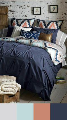 Tendance couleur chambre en bleu marine, gris et vert pâle